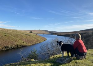 Picture showing woman looking out over beautiful reservoir